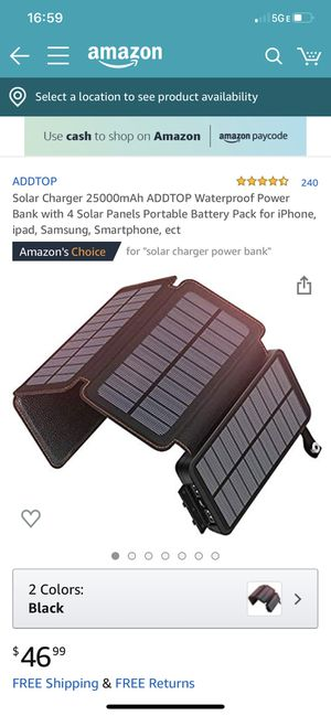 Photo Lar Charger 25000mAh ADDTOP Waterproof Power Bank with 4 Solar Panels Portable Battery Pack for iPhone, ipad, Samsung, Smartphone, ect