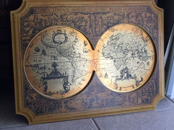 Vintage S Masketeers Inc Old World Map In Brass For Sale In - Antique looking world maps for sale