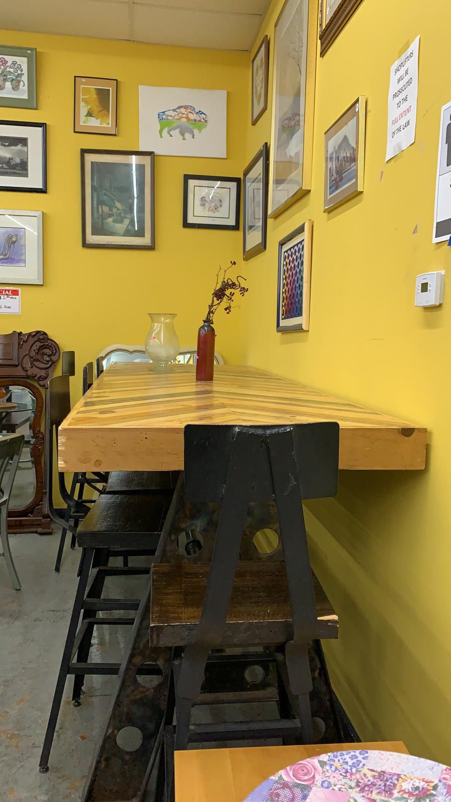 Custom built high Top table with iron chairs