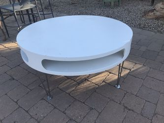 Hairpin Leg Round Coffee Table W/futuristic Openings 7th St/Thunderbird  Thumbnail