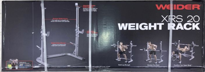 Weights XRS 20 Squat Rack With 110lb Olympic Set Comes With a 3 Piece 7ft Olympic Bar 2x25s,2x10s and 2x5s (built or in Box) Thumbnail