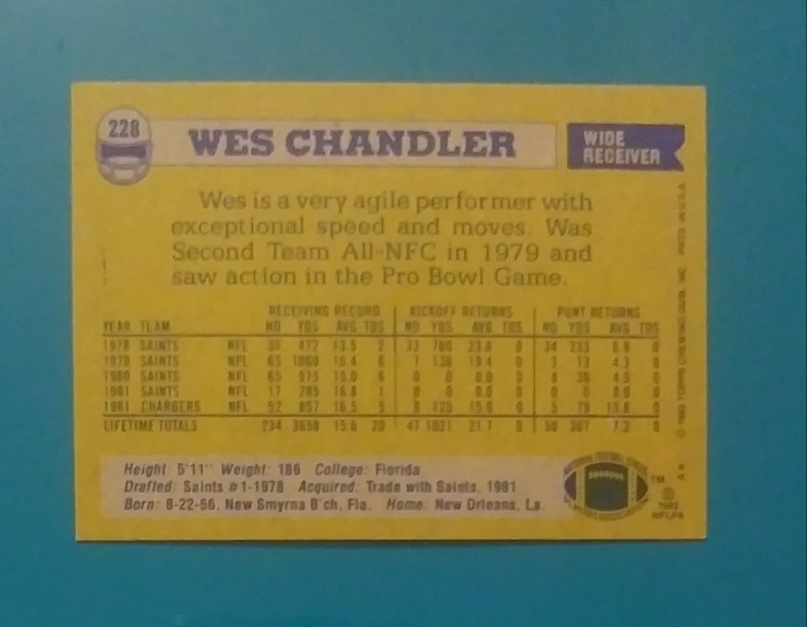 1982 Topps Wes Chandler San Diego Chargers #228 Wide Receiver Football Card Vintage Collectible Sports NFL