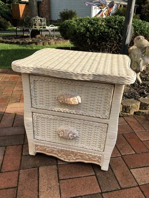 PIER1 WICKER AND WASHED WOOD NIGHT STANDS / PAIR OF TWO for Sale in Nottingham, MD