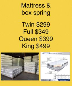 New Twin,full,queen & King Size Pillow Top Mattress & Box Spring- Order It Like A Pizza 🍕  Thumbnail
