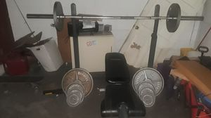 Impex competitor bench set 45lb bar Olympic with barbell 45lb 35lb 25lb 10lb 5lb a awesome set,with the WEIDER 8525 AS WELL.. for Sale in Orlando, FL