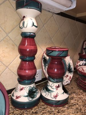 Candle stick set Collectible artist signed ceramic for Sale in Winter Park, FL
