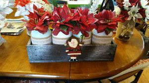 Handemade christmas center piece mason jars with flowers for Sale in OH, US