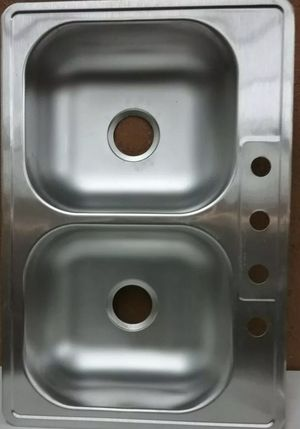 Photo Glacier Bay Drop-In Stainless Steel 33 in. 4-Hole Double Bowl Kitchen Sink