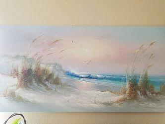 Large J Thompson Beach Canvas Painting Thumbnail