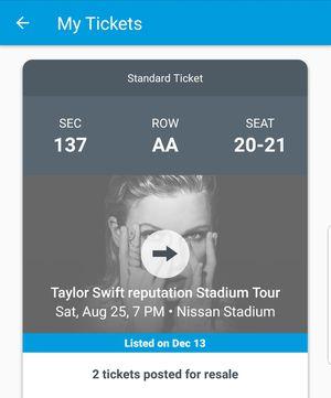 Taylor swift tickets for Sale in Nashville, TN