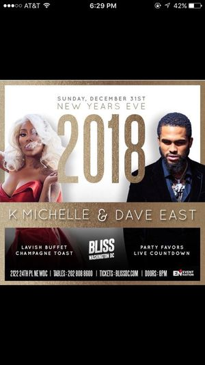 Dave East & K.Michelle Live New Years Eve Celebration for Sale in Washington, DC