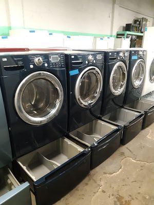 Photo LG FRONT LOAD WASHER AND DRYER SET WITH PEDESTAL WORKING PERFECTLY 4 MONTHS WARRANTY DELIVERY AVAILABLE SAME