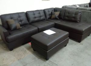 Brand New Faux Leather Sectional Sofa Couch + Ottoman for Sale in Arlington, VA