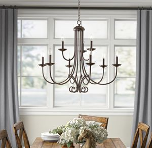 """Photo 9-light chandelier in oil rubbed bronze by Thomas Lighting. 34"""" x 31"""" x 106"""" overall length. Adjustable height. Dimmable. In box! $145"""