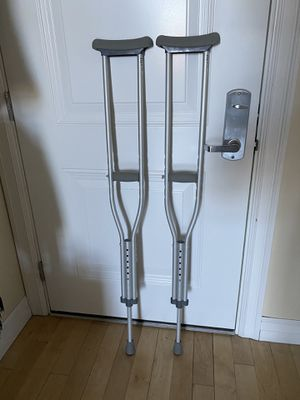 Photo 2 Push Button Crutches. Frankly new. Used just once, to walk from the car to home door. Why Choose Aluminum Push Button Crutches? * These are lighte