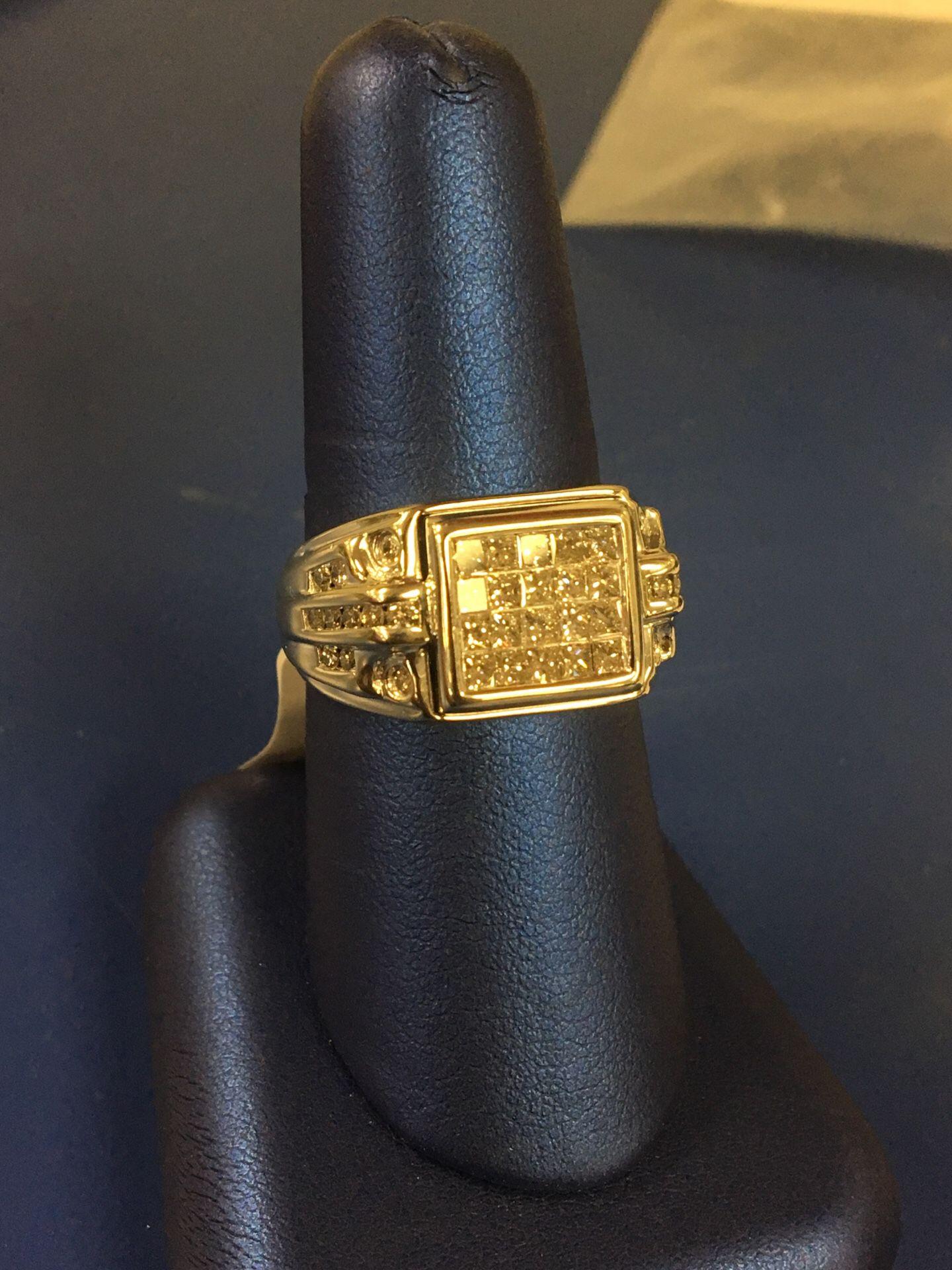 14k men's ring with diamonds