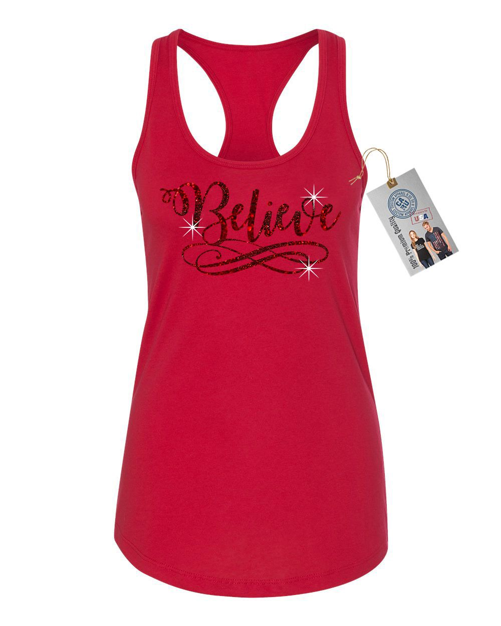 Believe Red Sparkle Glitter Christmas Womens Racerback Tank Top Red 2XL