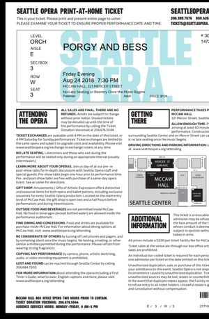 Seattle Opera Porgy and Bess, 8/24/18 for Sale in Seattle, WA