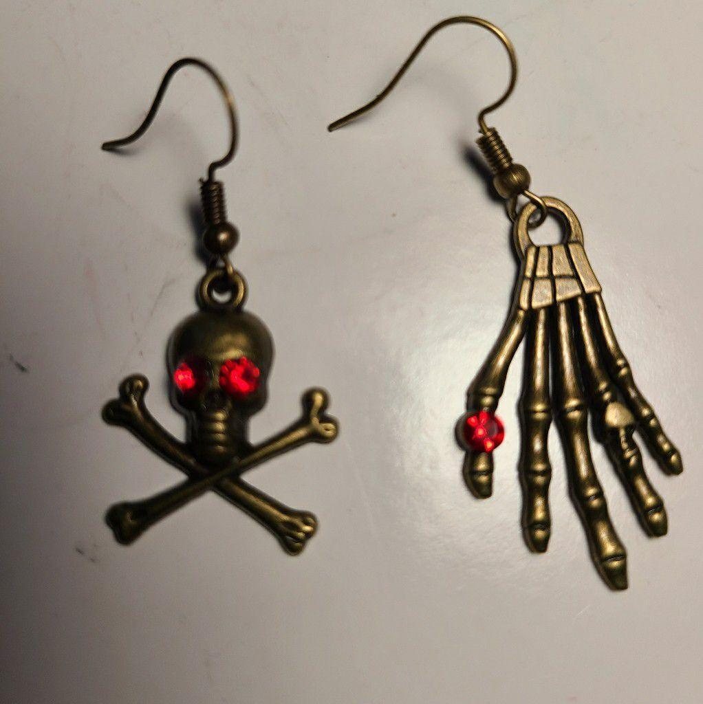Skeleton earrings hand skull rhinestone bat spider gothic