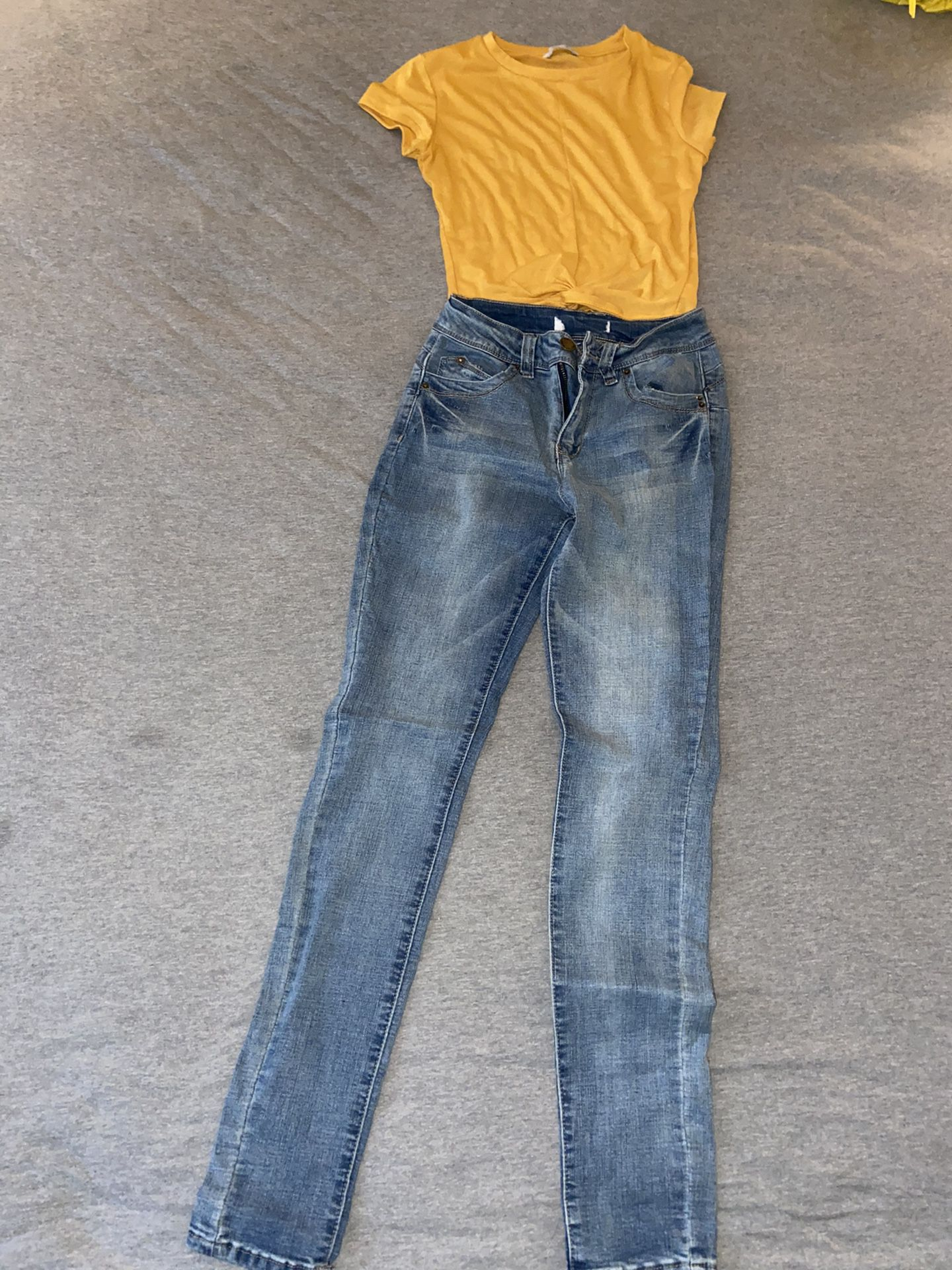 Yellow Crop Top And Light Blue Jeans