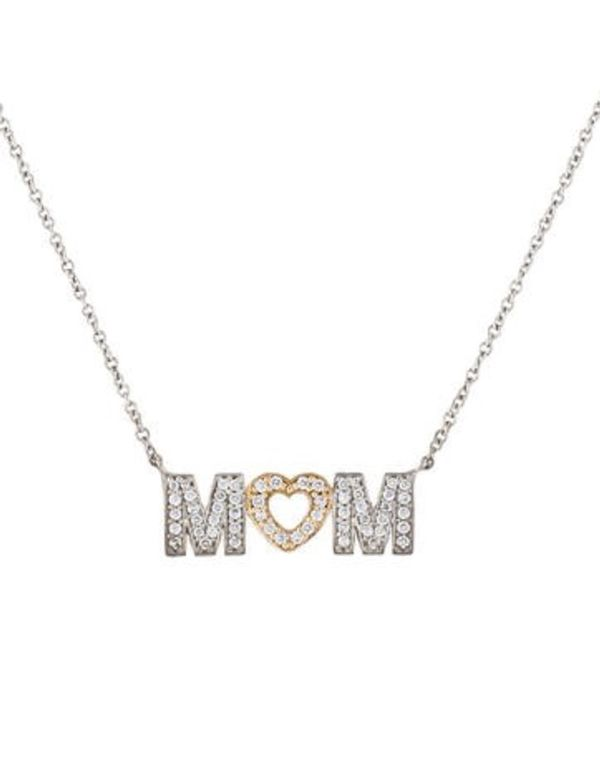 62ef149da AUTHENTIC Tiffany & Co. 18K Gold & Pave Diamonds MOM Necklace NEW ...