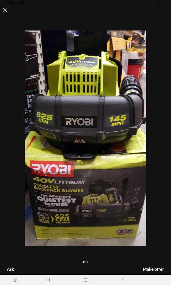 RYOBI 40V CORDLESS BACK PACK BLOWER TOOL ONLY LIKE NEW