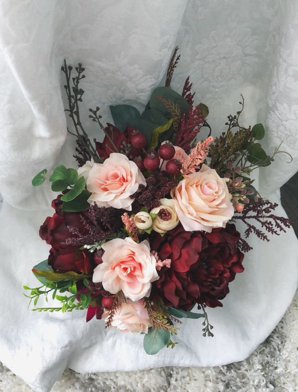 Burgundy Wedding Maroon Flowers Bouquet Wedding Bouquets (Arts ...