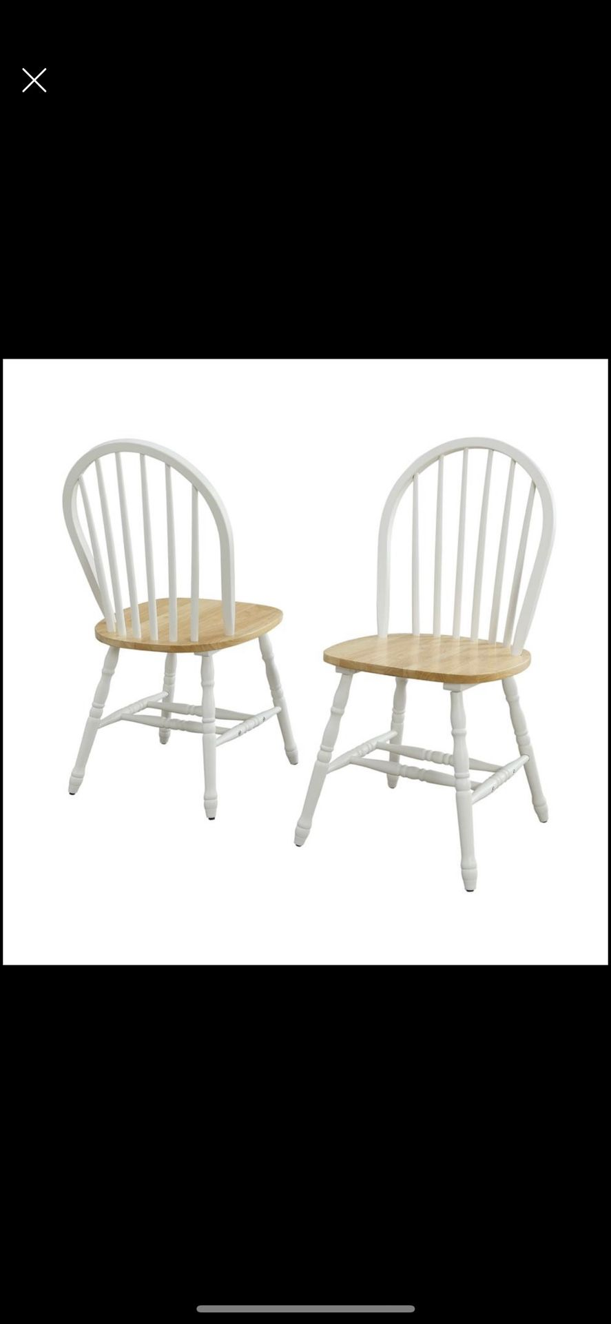 new  (Set of 4) Solid Wood Dining Chairs, White and Oak