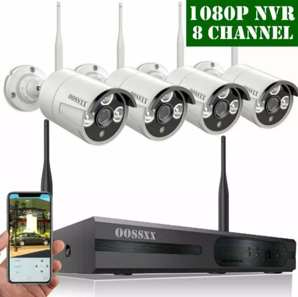 OOSSXX HD 1080P 8-Channel 4 Camera's Expandable Wireless Security Camera  System Indoor/Outdoor Night Vision Motion Detection Waterproof Free App for