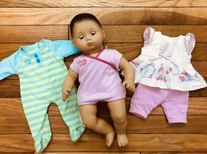 "American Girl Doll ""Bitty Baby"" with 3 AGD outfits for Sale in Reston, VA"