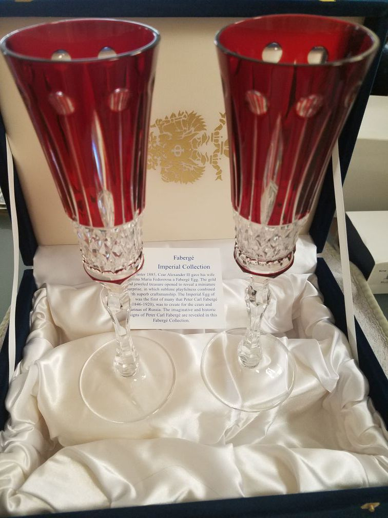 Brand new Faberge Ruby Red Wine Glasses