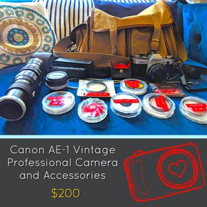 Canon AE-1 Camera with Bag and Accessories for Sale in Frederick, MD
