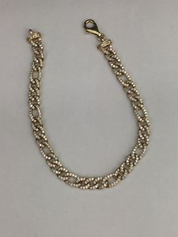 14k yellow gold Figaro with cubic zirconia bracelet 7.5 inches Thumbnail