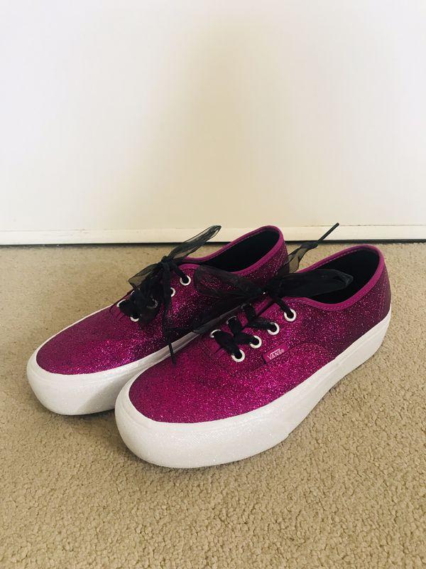 9320fbc5cd Vans purple pink glitter platform size 8W for Sale in Huntington ...