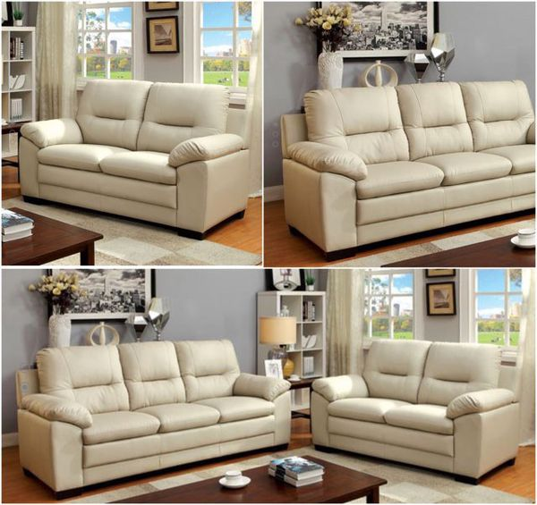 Brand New Ivory Plush Leather Sofa Loveseat 600 Including Delivery