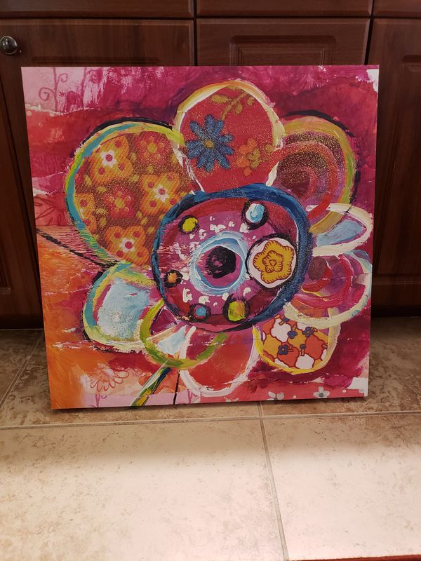 Bright Color Flower Canvas Wall Art
