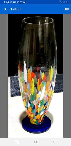Photo MURANO GLASS DECORATIVE HANDPAINTED MULTICOLORED VASE, (MADE IN ITALY) 10IN