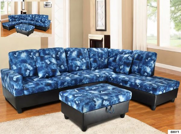 New blue fabric sectional sofa with storage ottoman for Sale in ...