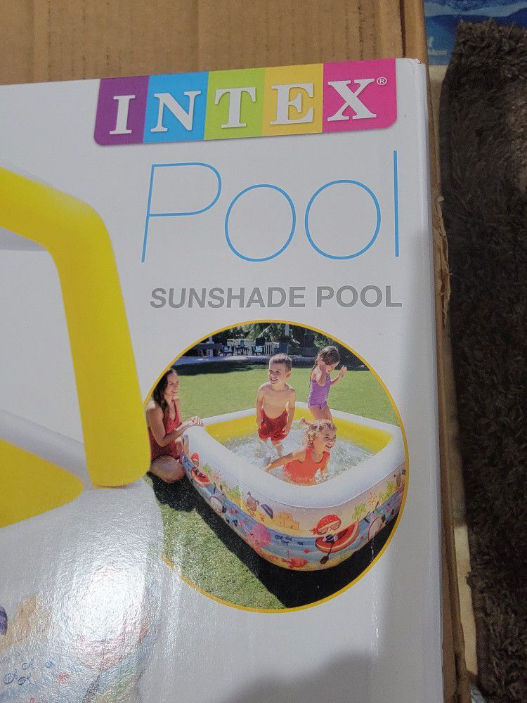 Intex Inflatable Ocean Scene Sun Shade Kids Swimming Pool with Canopy