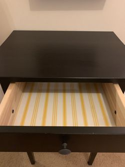 Two dark brown black IKEA nightstands/ side tables with drawers Thumbnail