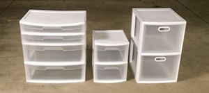 3 White and Clear Storage Drawers ($30 for all) for Sale in Washington, DC