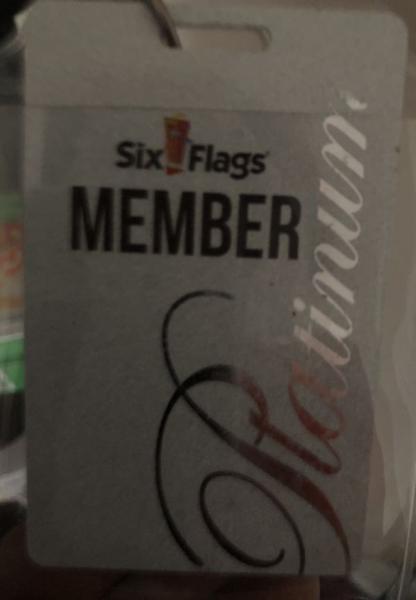 Two Six Flags Season Platinum Tickets For Sale $50 each, good until April  2019 for Sale in Monroe, GA - OfferUp
