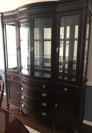 Cherry cabinet hutch and table set with 8 chairs, leaf, and padding for Sale in Leesburg, VA