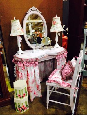 Vintage Skirted Vanity Dressing Table Mirror And Chair For