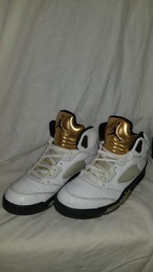 Nike Air Jordan 5 Retro Olympic White Black Metallic Gold Coin Size 10 (3055) for Sale in Tampa, FL