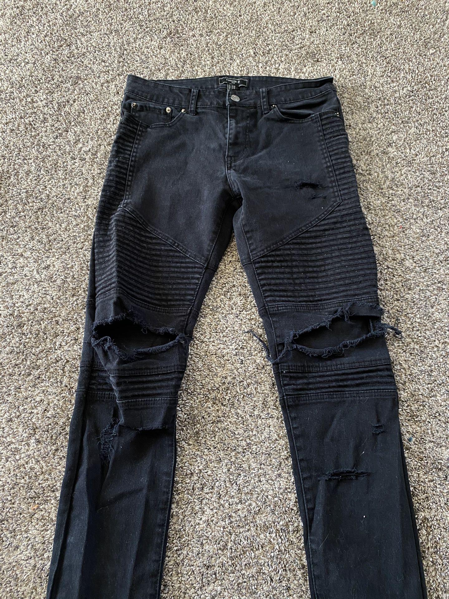 Men's Forever 21 Biker Denim Jeans