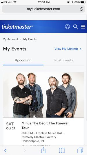 Minus the bear ticket philly for Sale in Philadelphia, PA