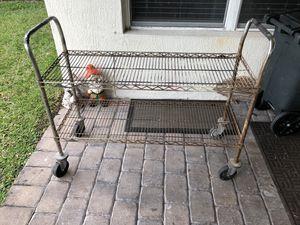 Photo (1) 2 Tier Metal Rolling Cart Shelf