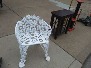 Cast iron all white garden seat for sale for Sale in St. Louis, MO