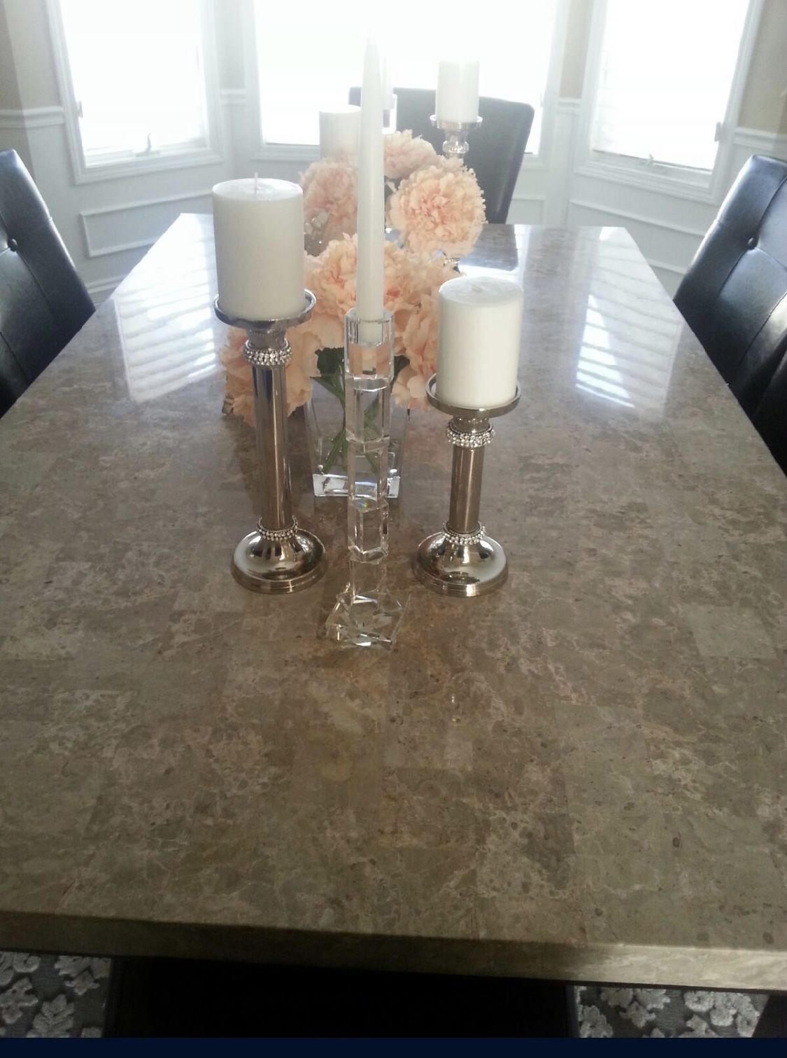 7-piece Dining Table - Marble Top - Espresso